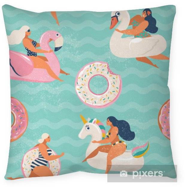 Flamingo, unicorn, swan and sweet donut inflatable swimming pool floats Vector seamless pattern. Throw Pillow - Hobbies and Leisure