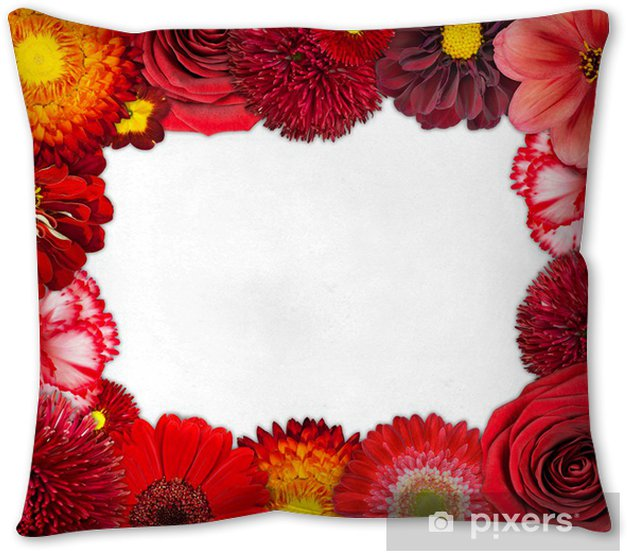 Flower Frame With Red Flowers On Blank Background Throw Pillow Pixers We Live To Change