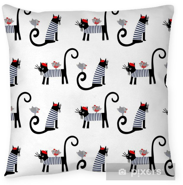 Cute Cartoon Parisian Cats And Birds Vector Ilration Design For Print On Baby S Clothes Textile Decor Throw Pillow French Style