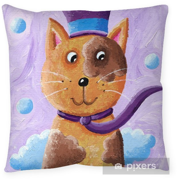 Funny cat wearing top hat Throw Pillow - Animals
