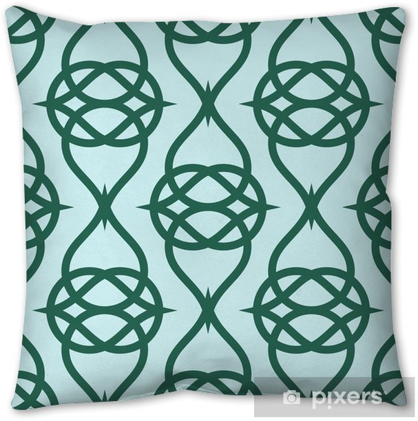 Geometric abstract pattern on green background. Vector seamless texture. Throw Pillow - Graphic Resources