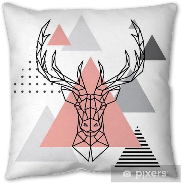 Geometric head of a deer on a Scandinavian background. Scandi style. Throw Pillow - Animals