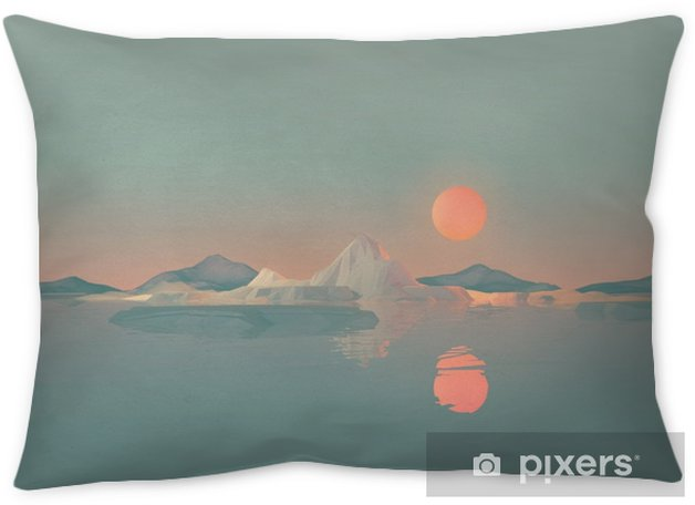 Geometric Mountain Landscape with Sun Reflecting on Water Throw Pillow - Landscapes