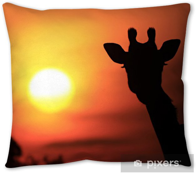 Giraffe Sunset Silhouette On The Masai Mara In Africa Throw Pillow Pixers We Live To Change