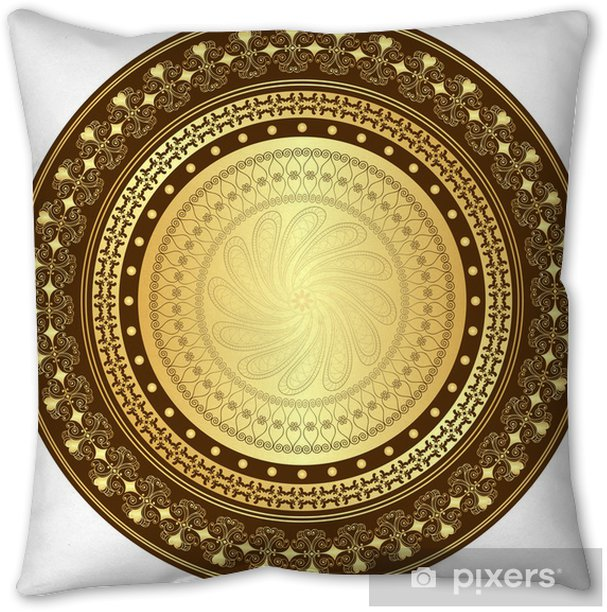Gold And Brown Round Frame Throw Pillow Pixers We Live To Change