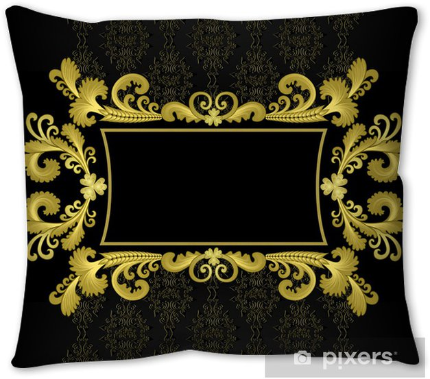 Gold Frame In The Rococo Style On A Black Background Throw Pillow Pixers We Live To Change