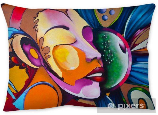 Graffiti face Throw Pillow -