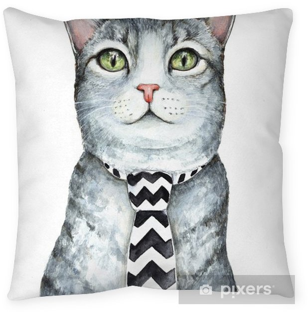 Gray cat character wearing mens neck tie with black and white chevron zig zag pattern. Green eyes. Fabric accessory. Hand drawn watercolour graphic sketch illustration, isolated on white background. Throw Pillow - Animals
