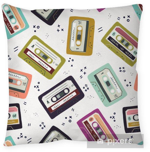 Hand drawn cassette tape seamless pattern Throw Pillow - Technology