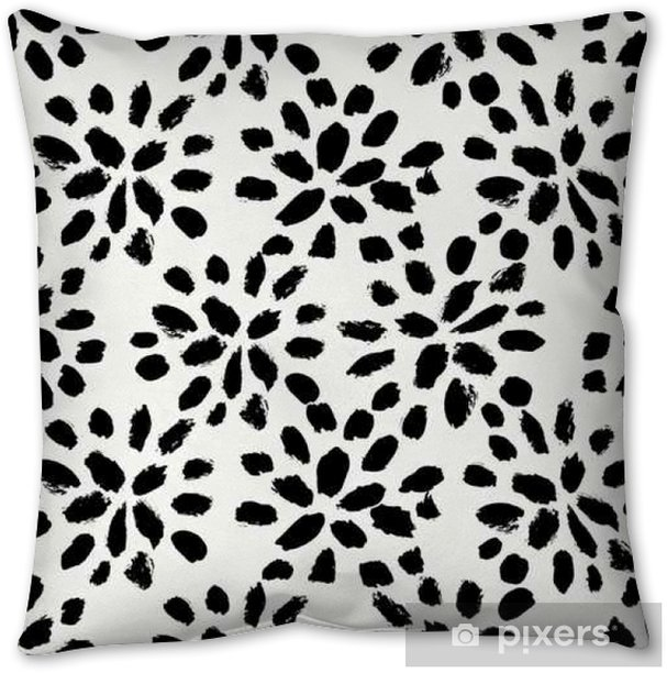 Hand Drawn Floral Seamless Pattern Throw Pillow - Graphic Resources