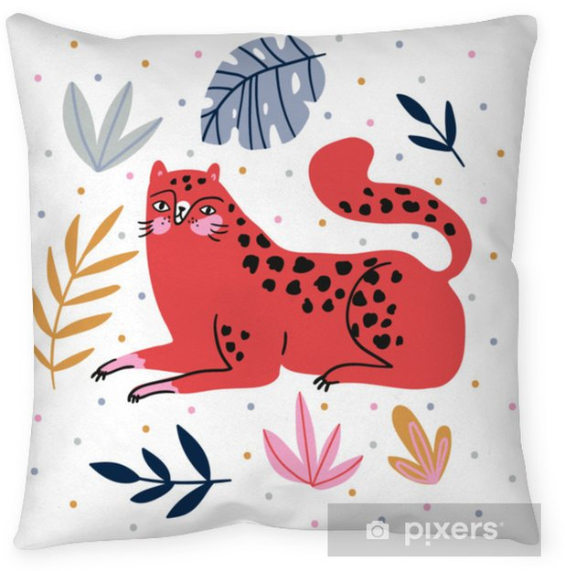 Hand-drawn illustration with wild cat and tropical leaves on the polka dots background - for home decor, t-shirt print, poster, greeting card. Creative cute vector illustration with leopard. Throw Pillow - Animals