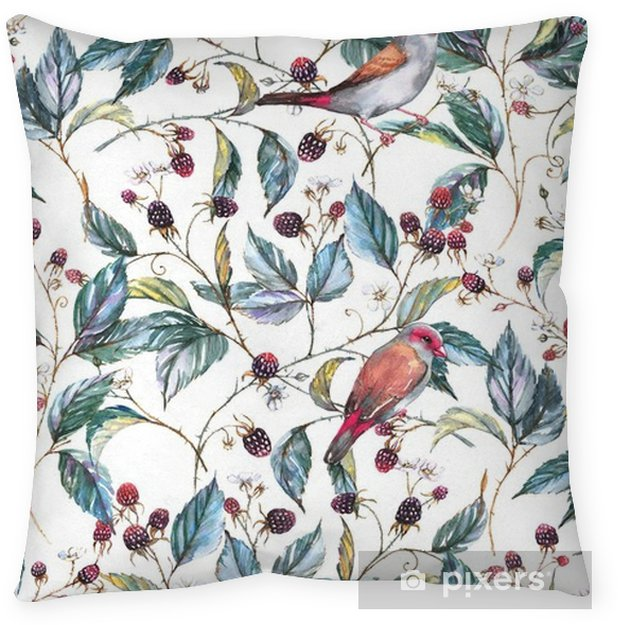 Hand-drawn watercolor seamless pattern with natural motives: blackberry branches, leaves, berries and wild birds - finches. Repeated background, print for the textile and wallpapers Throw Pillow - Plants and Flowers