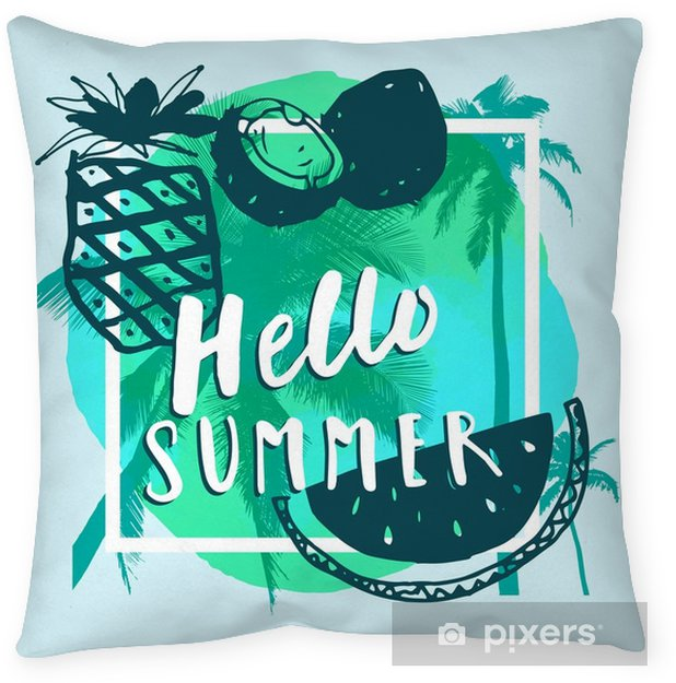Hello Summer. Handwritten reeting card with tropical fruits, palm trees, square frame, watercolor Throw Pillow - Food