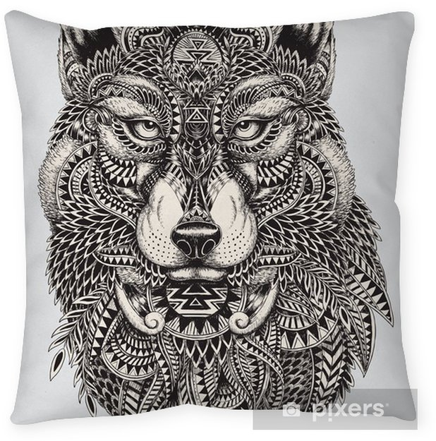 Highly detailed abstract wolf illustration Throw Pillow - Styles