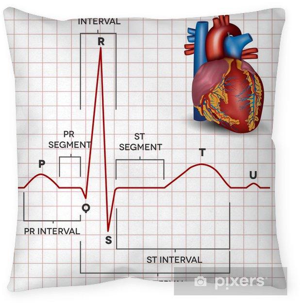 Human heart normal sinus rhythm and heart anatomy Throw Pillow