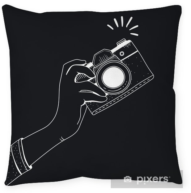 Illustration of camera Throw Pillow - Hobbies and Leisure