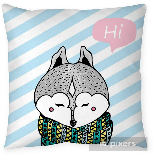 "Illustration of Grey husky dog in scarf on blue-light striped background and say :""Hi"". Throw Pillow - Animals"