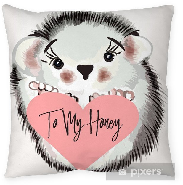 Illustration with vector hedgehog Throw Pillow - Animals