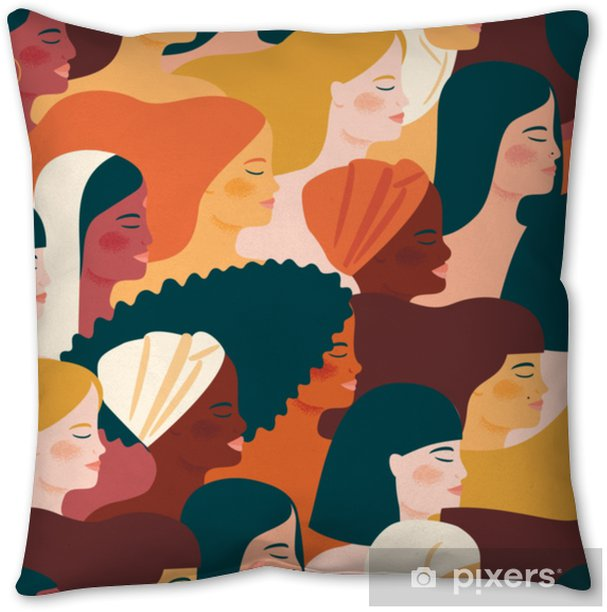 International Womens Day. Vector seamless pattern with with women different nationalities and cultures. Throw Pillow - People