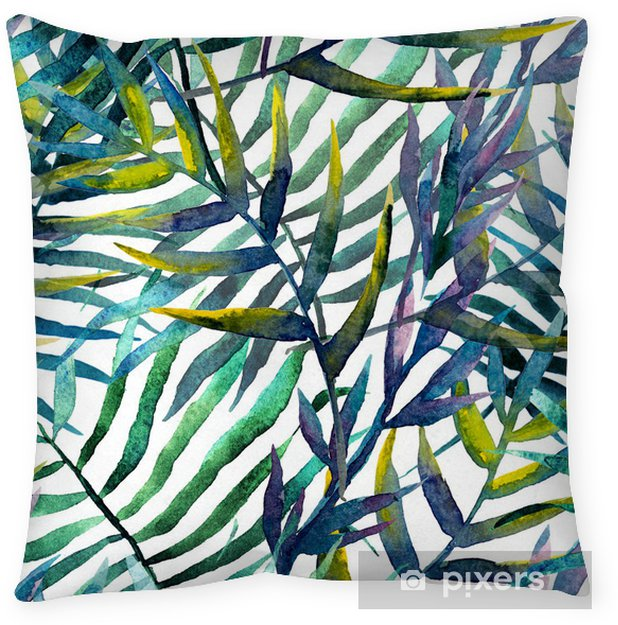 Leaves abstract pattern in watercolor Throw Pillow - iStaging