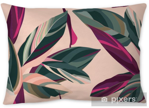 Leaves of Cordelia on a pink background. Floral seamless pattern. Throw Pillow - Plants and Flowers