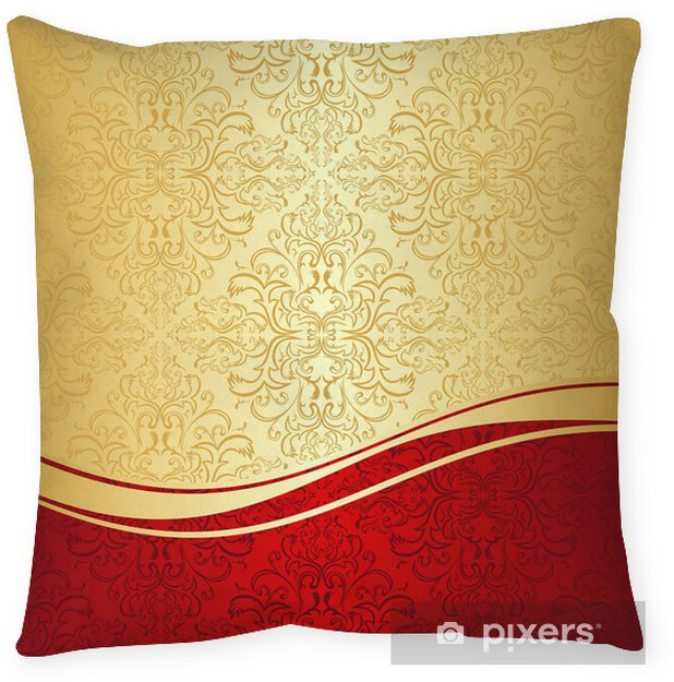 Luxury ornamental Background: gold and red. Throw Pillow