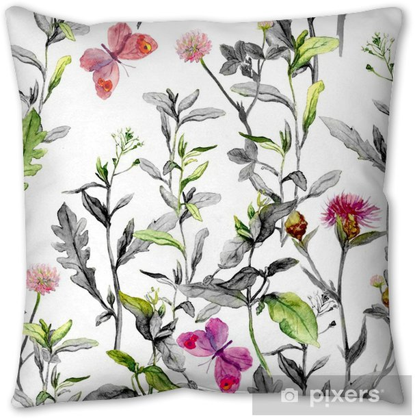Meadow Flowers Seamless Herbal Background In Black White Colors Watercolor Throw Pillow Pixers We Live To Change