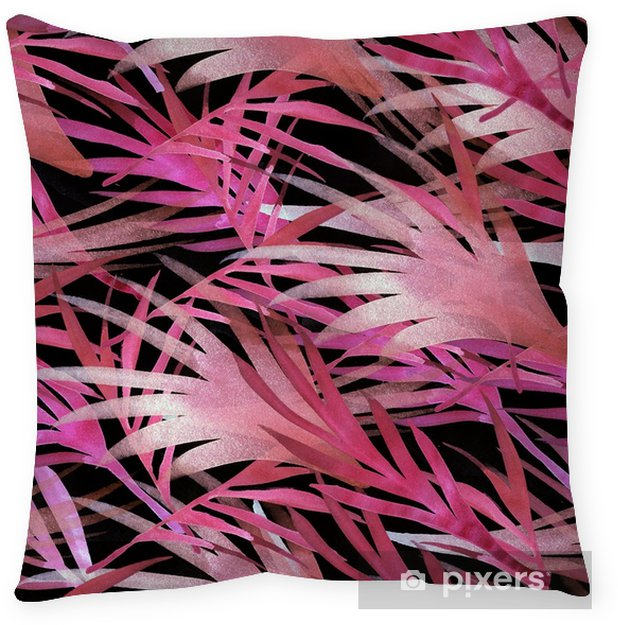 Miami Tropical Watercolour Seamless Pattern. Bohemian Flora Vintage Floral Background. Pink, Purple Violet, Paradise Boho Tropical Watercolour Seamless Pattern. Exotic Palm Leaves Botanical Design Throw Pillow - Lifestyle