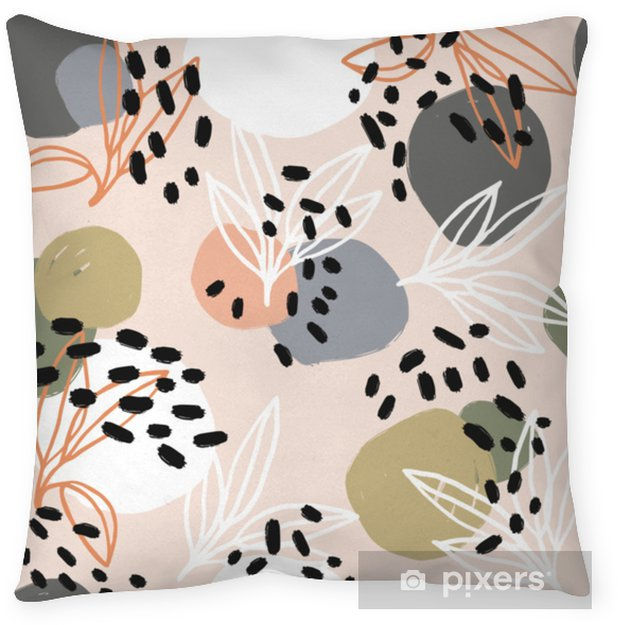 Modern abstract pattern collection. Hero pattern with brush strokes, shapes and floral elements. Trendy pastel colors. Minimalist digital. Fabric print, wrapping paper, poster, flyer, banner design. Throw Pillow - Hobbies and Leisure