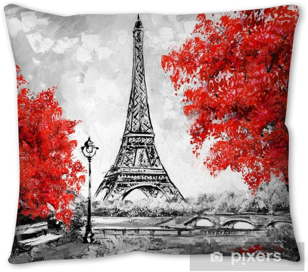 Oil Painting Paris European City Landscape France Wallpaper Eiffel Tower Black White And Red Modern Art Throw Pillow Pixers We Live To Change