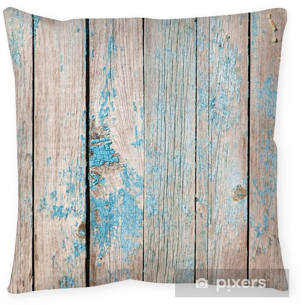 old wooden boards painted with blue paint Throw Pillow - Graphic Resources