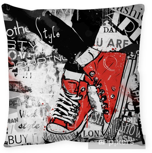 Pair of sneakers. Throw Pillow - Graphic Resources