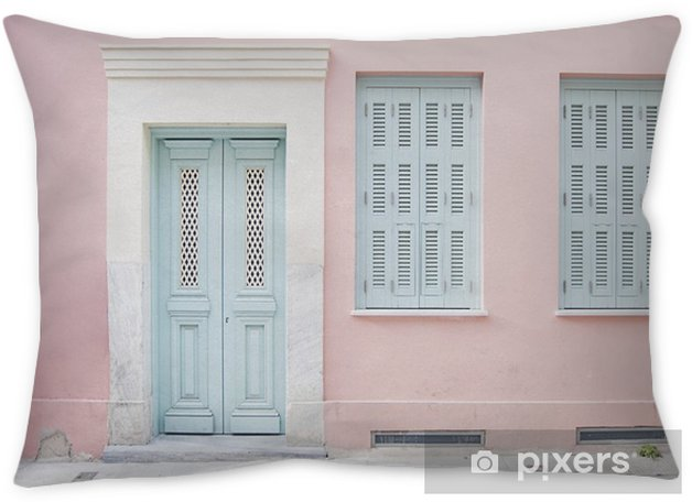 Pastel pink building and pale blue doorway surrounded by marble in Athens, Greece Throw Pillow - Buildings and Architecture