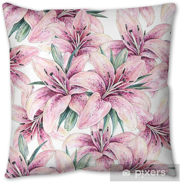Pink Lily Flowers Isolated On White Background Watercolor Handwork Illustration Drawing Of Blooming Lily With Green Leaves Seamless Pattern With Lilies For Design Throw Pillow Pixers We Live To Change