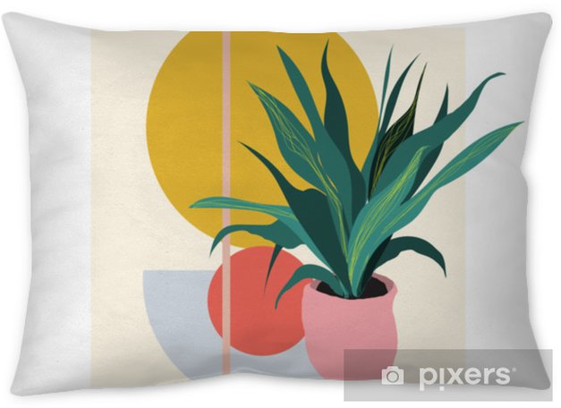 plant illustration. potted house plant vector. botanical art print. geometric background. Throw Pillow - Plants and Flowers