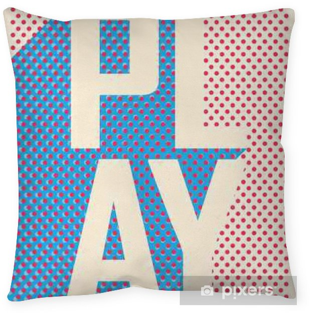 Play word cloud on a retro background. Throw Pillow - Graphic Resources