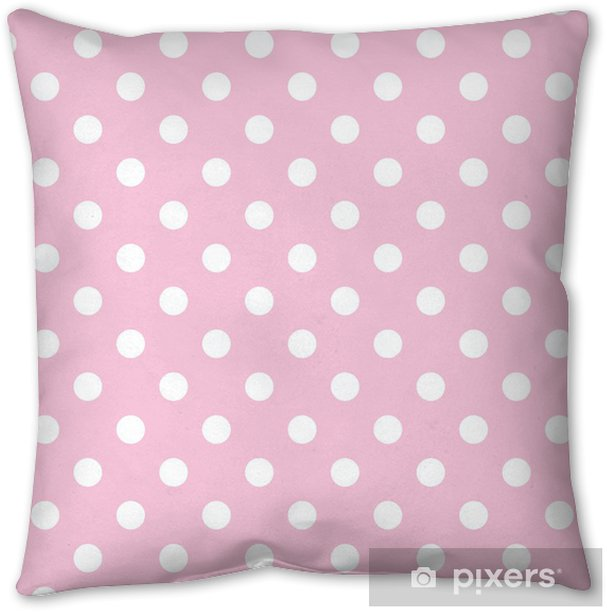 Polka dots on baby pink background retro seamless vector pattern Throw Pillow - Themes