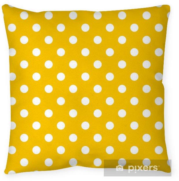 Polka dots on yellow background retro seamless vector pattern Throw Pillow - Themes