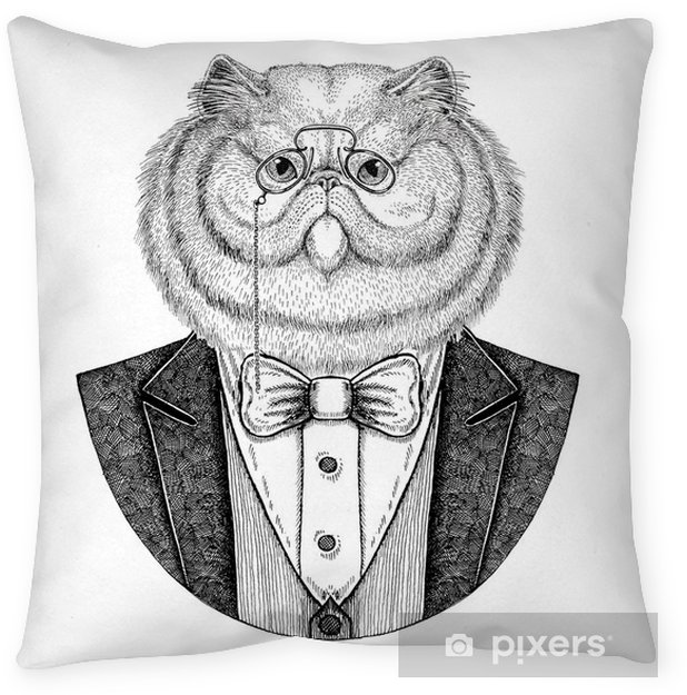 Portrait of fluffy persian cat Hipster animal Hand drawn illustration for tattoo, emblem, badge, logo, patch, t-shirt Throw Pillow - Lifestyle