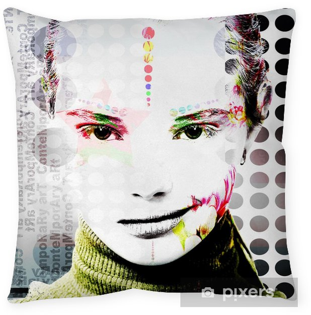 Poster with a portrait of a pretty girl in a modern style of pop art.. Throw Pillow - Hobbies and Leisure