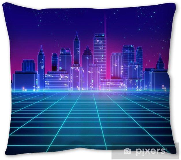 Retro Futuristic Skyscraper City 1980s Style 3d Illustration Throw Pillow Pixers We Live To Change
