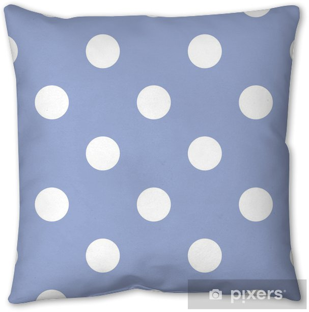 Retro seamless vector pattern with polka dots, blue background Throw Pillow - Themes
