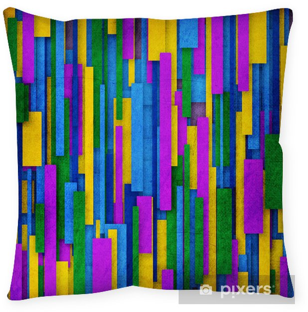 Retro Stripe Pattern In Green Purple Yellow And Violet Throw Pillow