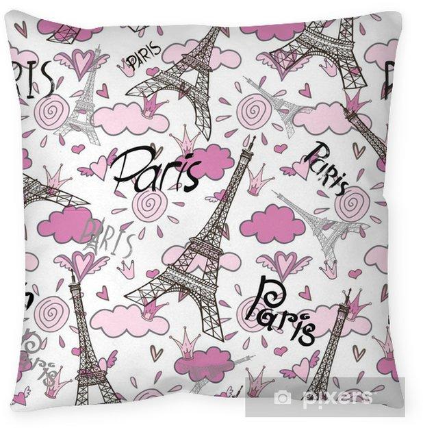 romantic seamless eiffel tower Paris background Throw Pillow ...