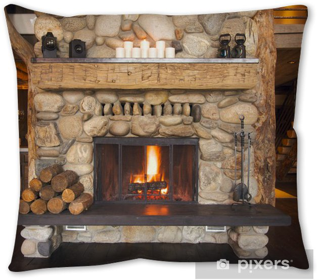 Rustic Fireplace In Log Cabin Throw Pillow Pixers We Live To Change