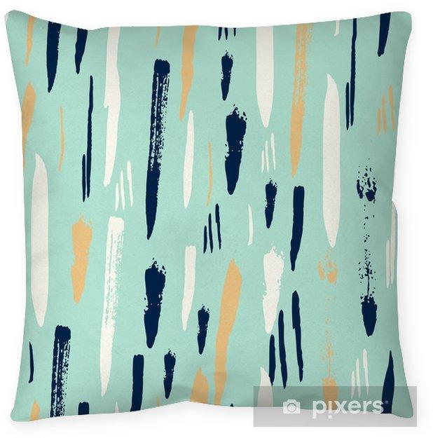 Scandinavian seamless pattern with diagonal black strokes Throw Pillow - Textures