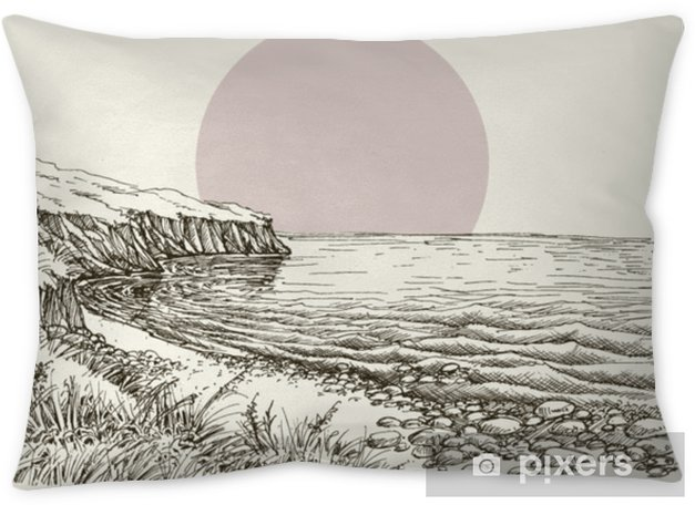 Sea, beach and cliff sketch Throw Pillow - Landscapes