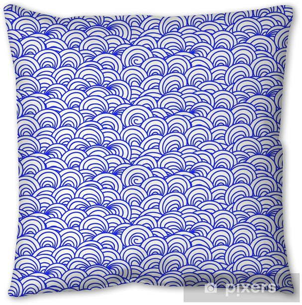 Seamless abstract doodle background pattern. Blue on white. Vector illustration Throw Pillow - Graphic Resources