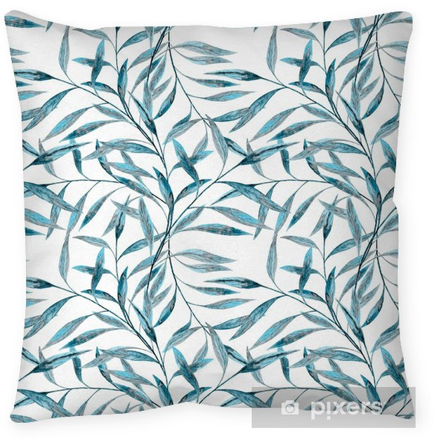 Seamless abstract floral pattern. Blue leaves , twigs white background. Throw Pillow - Graphic Resources