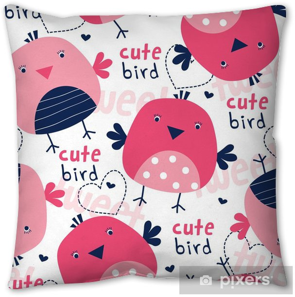seamless cute bird pattern vector illustration Throw Pillow - Animals